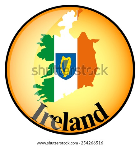 orange button with the image maps of Ireland in the form of national flag - stock vector