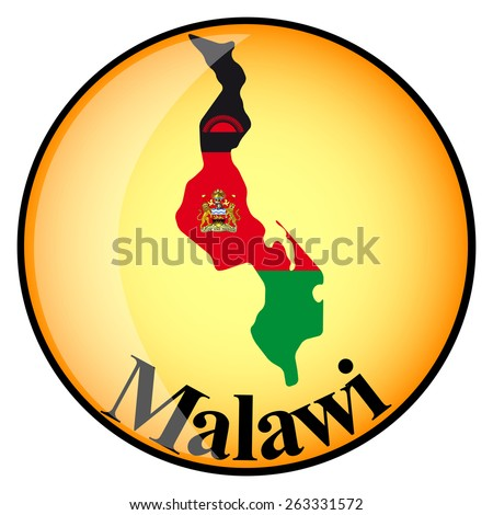 orange button with the image maps of Malawi in the form of national flag - stock vector