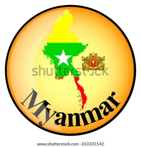 orange button with the image maps of Myanmar in the form of national flag - stock vector