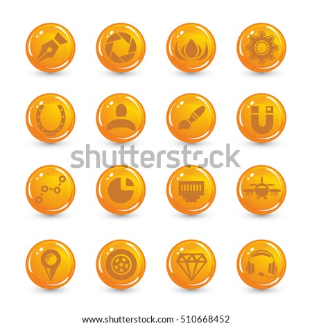 orange buttons web set