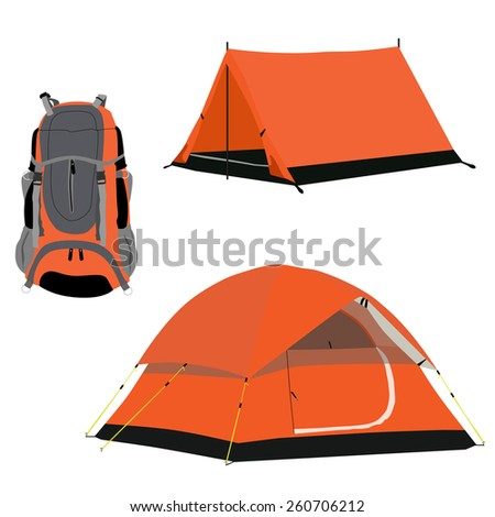 Orange camping tent and travel backpack vector set isolated, travelers stuff, equipment - stock vector