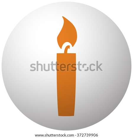 Orange Candle Light icon on sphere isolated on white background