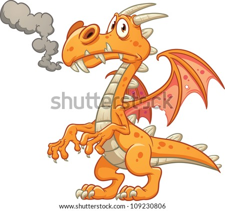 Orange cartoon dragon. Vector illustration with simple gradients. All in a single layer. - stock vector