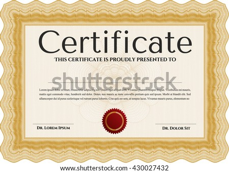 Orange Certificate or diploma template. Cordial design. Easy to print. Customizable, Easy to edit and change colors.