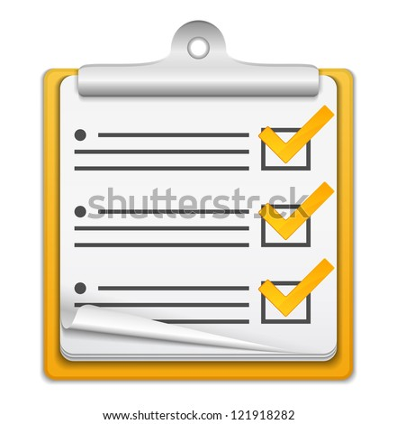 Orange check list icon, vector eps10 illustration - stock vector