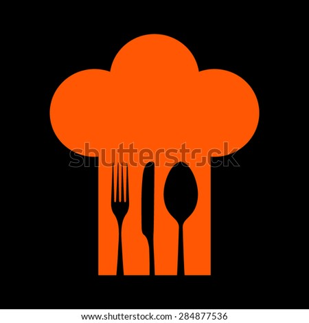 Orange Chef hat with fork, spoon and knife inside  on a black background - stock vector