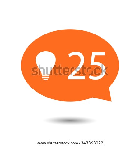 Orange circle Like Counter Notification Icon with bulb icon. vector illustration. mobile device. web elements  - stock vector