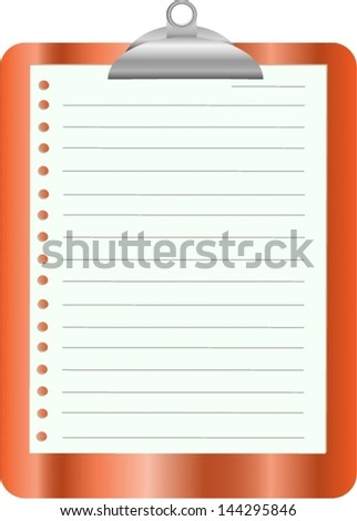 Orange clipboard with white paper on white - stock vector