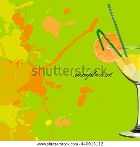 Orange cocktail. Refreshing drink. - stock vector