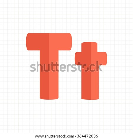 orange color alphabet letters T - stock vector
