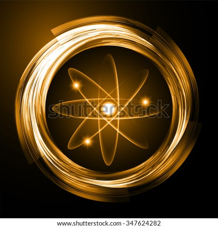 orange color Light Abstract Technology background for computer graphic website internet and business.circuit. vector illustration. Security. Nuclear, proton, neutron, nucleus. atom. molecular.Spark - stock vector