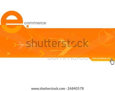 Orange color website template,vector - stock vector