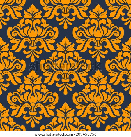 Orange colored floral arabesque seamless pattern in damask style motifs suitable for wallpaper, tiles and fabric design isolated over indigo colored background - stock vector