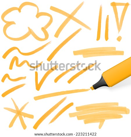 orange colored highlighter with different hand drawn markings - stock vector