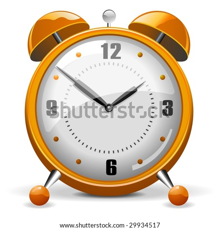 Orange Copper Alarm Clock - stock vector