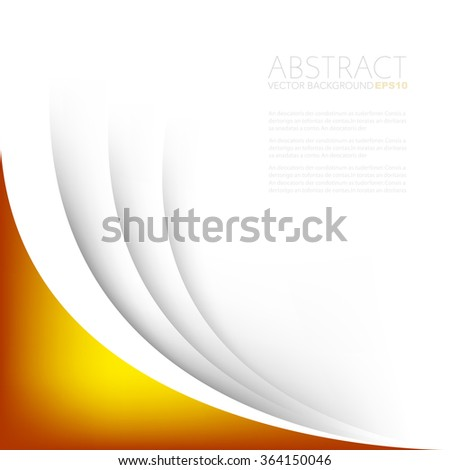 Orange curve on white paper background with space for text background design , overlap layer concept - stock vector