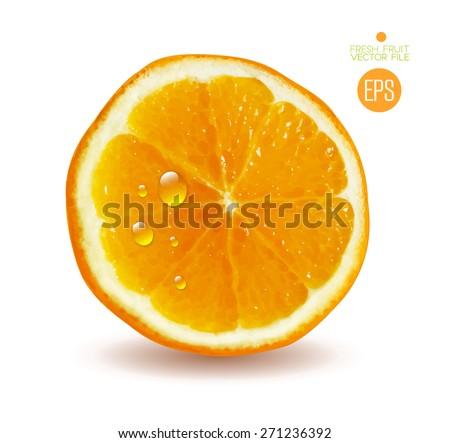 Orange cut in half. Citrus isolated on white background beautiful fresh fruit. Vector realistic art illustration for advertising packaging carton bottle banner wallpaper website.  - stock vector
