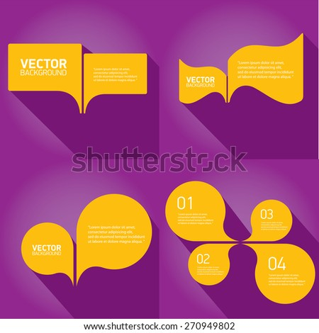 orange cut paper speech bubbles on violet. speech bubbles set. vector illustration - stock vector