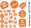 orange cute sales stickers, icons, signs, vector illustrations - stock vector