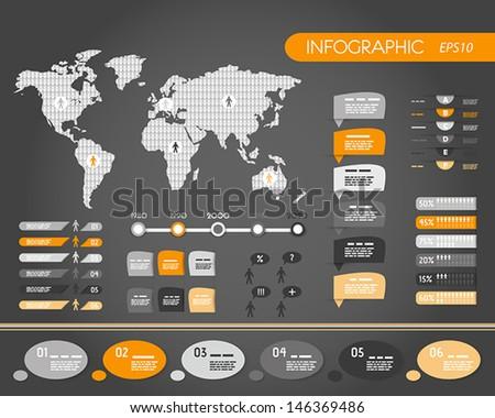 orange dark world infographics with people. infographic concept. - stock vector