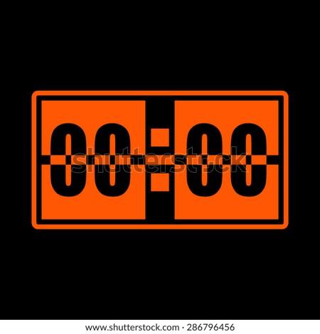 Orange Digital alarm clock vector icon on a black background - stock vector