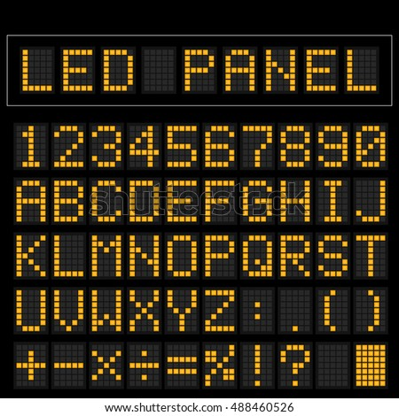 Orange digital square led font display with sample panel