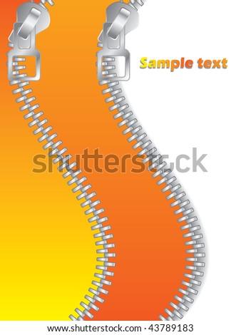 Orange Double Zippered - stock vector