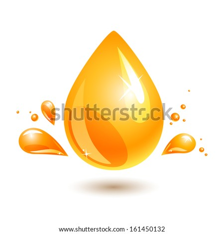 orange drop of oil on white. jpg include isolated path. eps10 - stock vector