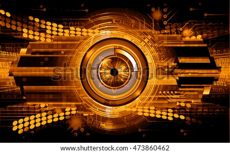 orange eye abstract cyber future technology concept background, illustration, circuit. move motion speed. sci-fi. vector, Safety, Closed Padlock on digital. Spark