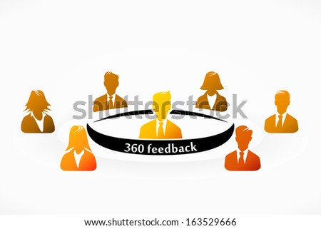 Orange 360 feedback people group abstract silhouettes  - stock vector