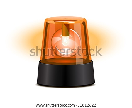 Orange flashing light - stock vector
