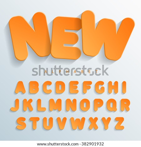 Orange flat font without angles with a falling shadow on the left side. Easy and simple approach to design of banners, posters and colorful cards. Vector Illuctration - stock vector