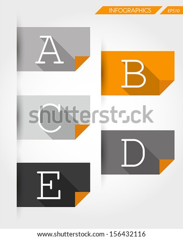 orange flat paper stickers with letters. infographic concept. - stock vector