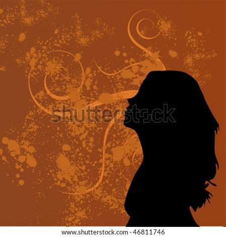 Orange floral grunge background with a woman's silhouette - stock vector