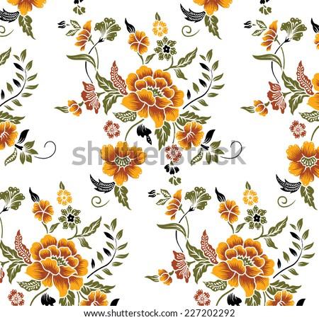 Orange flower pattern drawn by hand. - stock vector