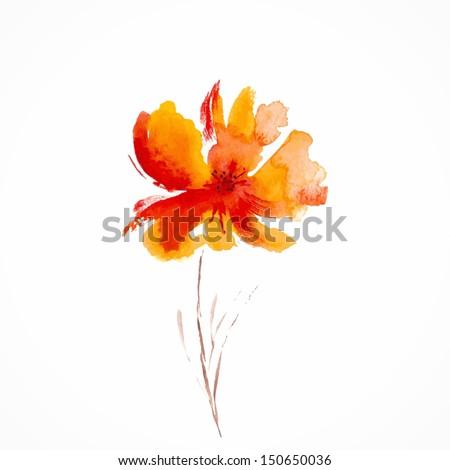 Orange flower. Watercolor floral illustration. Floral decorative element. Vector floral background. - stock vector