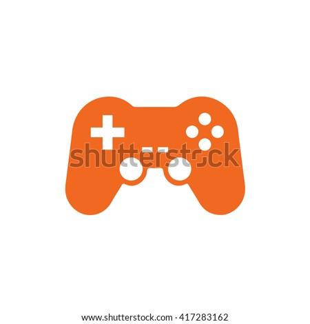 Orange game controller icon vector illustration - stock vector