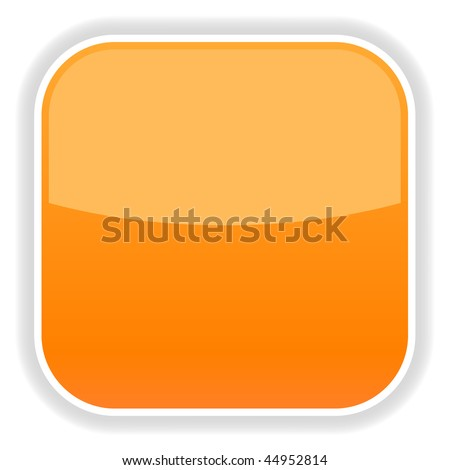 Orange glassy blank web button on a white background - stock vector
