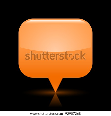 Orange glassy empty map pin button web icon. Rounded rectangle shape with glowing shadow and color reflection on black background. This vector illustration saved in file eps 8 - stock vector