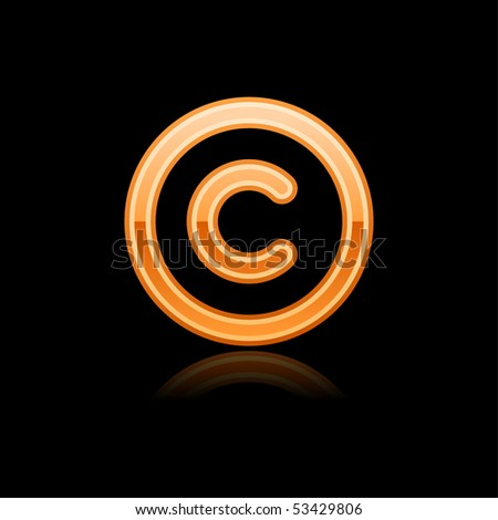 Orange glassy web button copyright symbol with reflection. Black background - stock vector