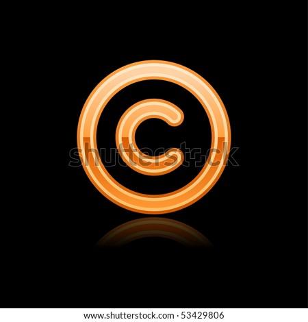 Orange glassy web button copyright symbol with reflection. Black background - stock vector