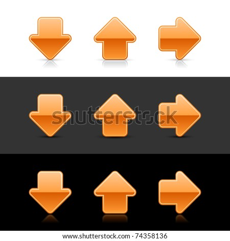 Orange glossy arrow sign web 2.0 buttons with shadow and reflection on white, gray and black