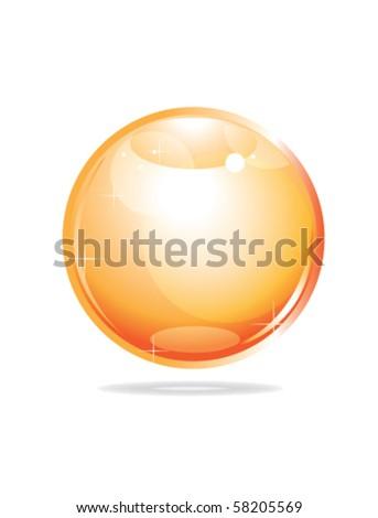 orange glossy sphere on white - stock vector