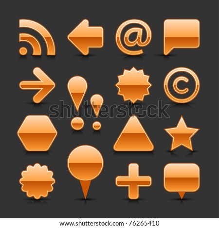 Orange glossy web button set with black shadow and dark reflection on gray background - stock vector