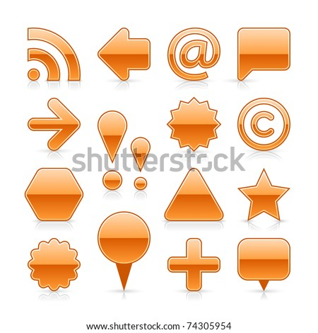 Orange glossy web button set with gray shadow and grey reflection on white background - stock vector