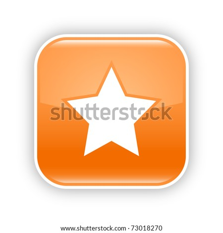 Orange glossy web 2.0 button with star icon. Rounded square sticker with shadow on white. 10 eps - stock vector