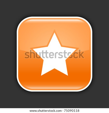 Orange glossy web 2.0 button with star sign. Rounded square button with shadow on gray. 10 eps - stock vector