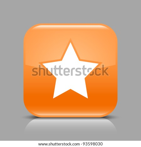 Orange glossy web button with star sign. Rounded square shape icon with black shadow and light reflection on gray background. This vector illustration saved in 8 eps. See more buttons in my gallery - stock vector