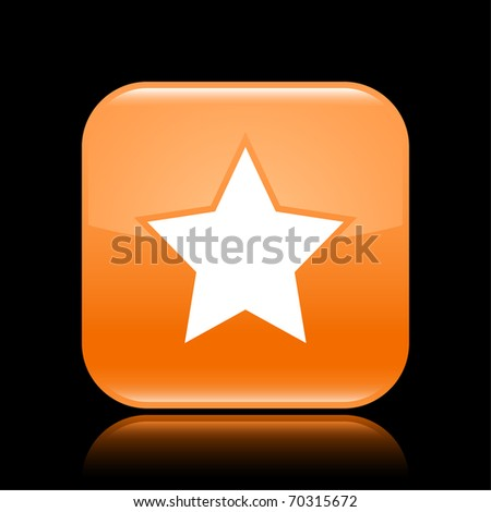 Orange glossy web 2.0 button with star sign. Rounded square shape with reflection on black background - stock vector