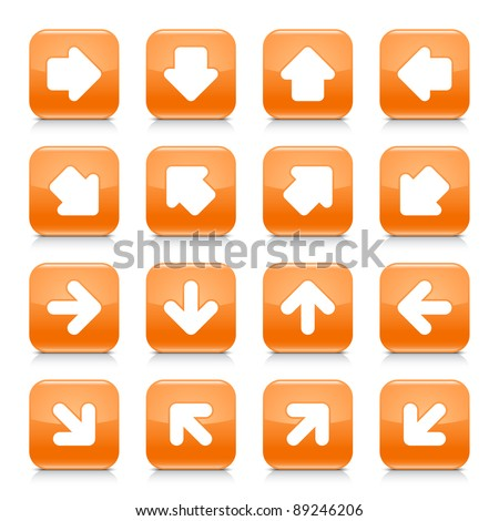 Orange glossy web button with white arrow sign. Rounded square shape internet icon with shadow and reflection on white background. This vector illustration saved in 8 eps